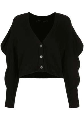 Proenza Schouler draped-sleeve cropped cardigan - Black