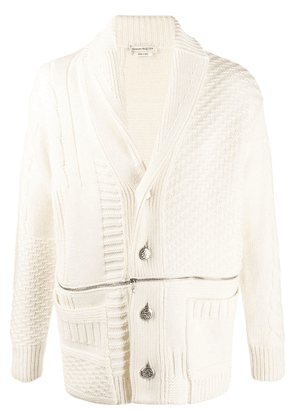 Alexander McQueen panelled zipped cardigan - NEUTRALS