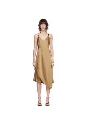 Helmut Lang Tan Satin Scarf Dress