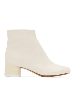 MM6 Maison Margiela Off-White Low Heel Ankle Boots