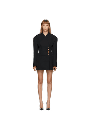 Balmain Black Grain De Poudre Wrap Jacket Dress