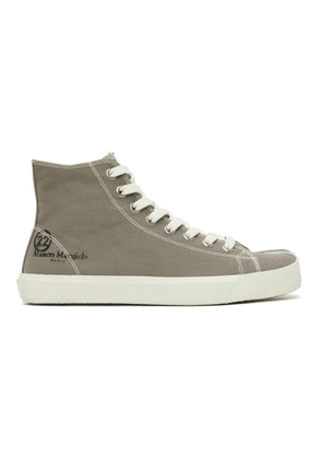 Maison Margiela Taupe Canvas Tabi High-Top Sneakers
