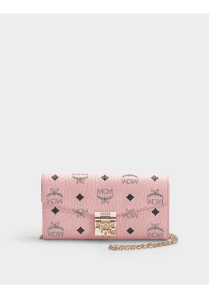 Large Patricia Visetos Flap Wallet in Pale Pink Coated Canvas