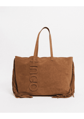 Hugo Boss suede shopper bag with tassel detailing in rust-Copper