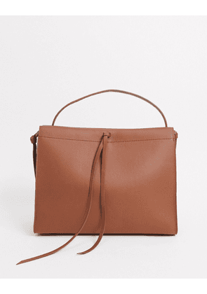 Hugo Boss leather tote bag with tassel detail in pastel brown