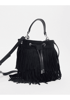 Hugo Boss drawstring-close bucket back in leather in black