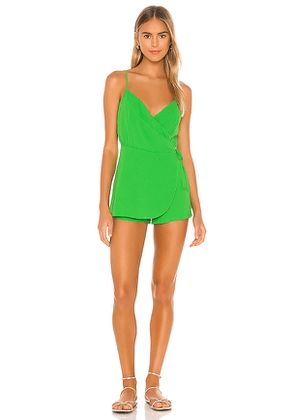 superdown Ember Wrap Romper in Green. Size S,XS,XXS.