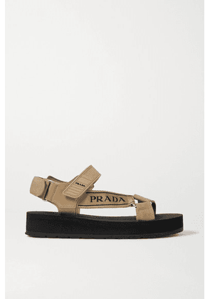 Prada - Nomad Logo-detailed Rubber And Leather-trimmed Canvas Sandals - Beige