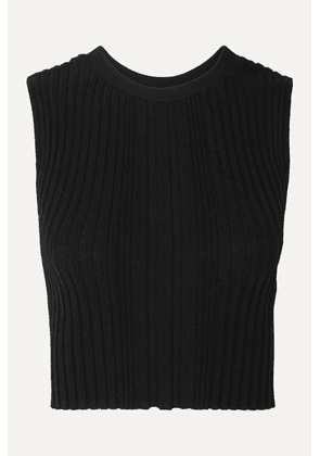 Dion Lee - Opacity Cropped Ribbed-knit Tank - Black