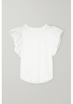 See By Chloé - Scalloped Cotton-poplin And Cotton-jersey Blouse - White