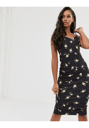 ASOS DESIGN floral tie back midi dress-Black