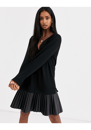ASOS DESIGN sweat dress with leather look pleated hem-Black