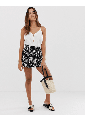 ASOS DESIGN culotte short in mono floral print-Multi