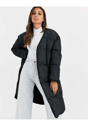 ASOS DESIGN collarless padded coat in black