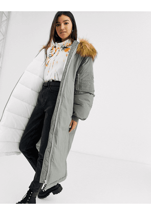 ASOS DESIGN extreme sleeve parka in sage-Green