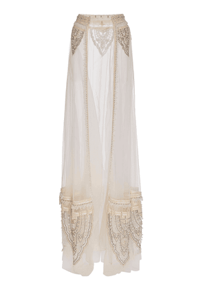 Cucculelli Shaheen Pearl Paisley Detachable Embroidered Tulle Maxi Ski