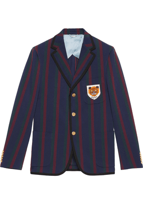 Gucci Striped cotton jacket with patch - Blue