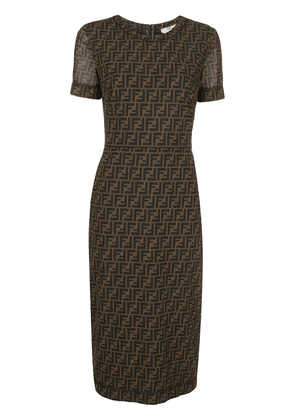 Fendi FF motif mid-length dress - Brown