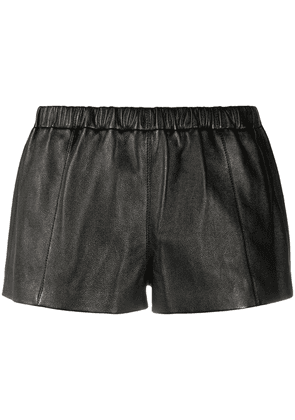 Saint Laurent leather short shorts - Black