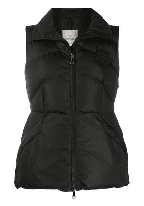 Moncler flared waist quilted gilet - Black