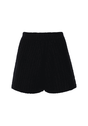 Ribbed Knit Wool & Cashmere Shorts