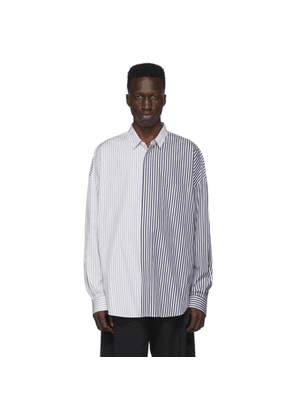 Juun.J Navy and White Colorblocked Stripe Shirt