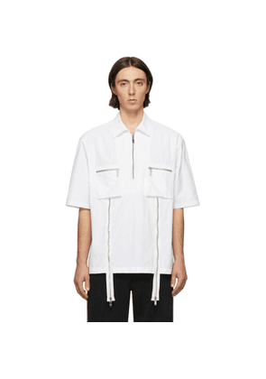 We11done White Zip Detail Short Sleeve Shirt