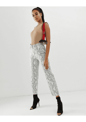 ASOS DESIGN Farleigh high waisted straight leg jeans in coated mono snake print with neon thread detail-Multi