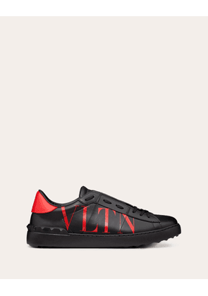 Valentino Garavani Uomo Open Sneaker With Vltn Logo Man Black/pure Red Calfskin 100% 39