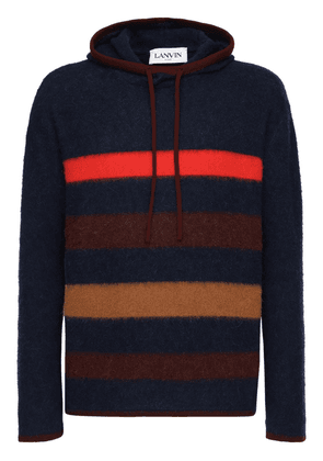 Striped Cashmere Blend Knit Hoodie