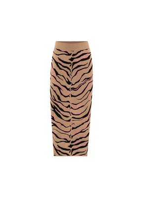 Tiger-print compact knit pencil skirt