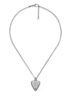 Engraved Heart Pendant Silver Necklace
