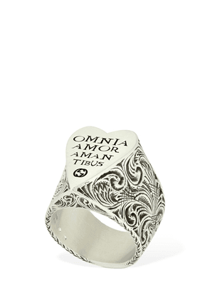 Engraved Heart Silver Ring