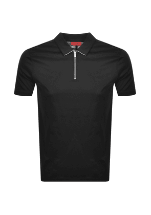 HUGO Dasili Hlaf Zip Polo T Shirt Black