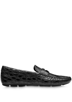 Prada crocodile-effect penny-slot loafers - Black