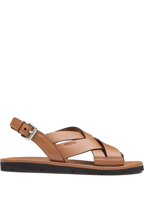 Prada wide band sandals - Brown