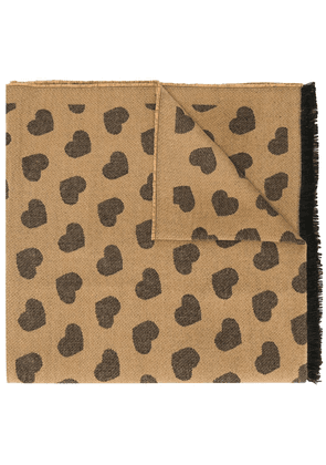 Twin-Set heart embroidered scarf - Brown