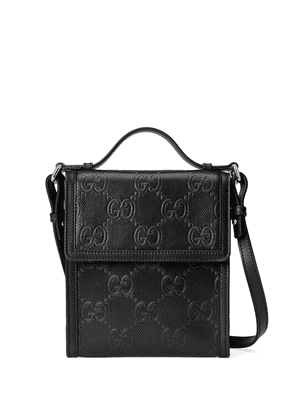 Gucci embossed GG motif messenger bag - Black