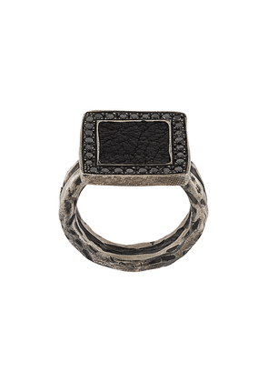 Guidi square onyx ring - SILVER