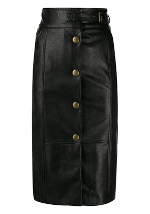 Twin-Set faux leather buttoned midi skirt - Black
