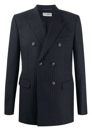Saint Laurent pinstriped double-breasted blazer - Blue