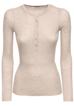 Buttoned Cashmere & Silk Knit Top