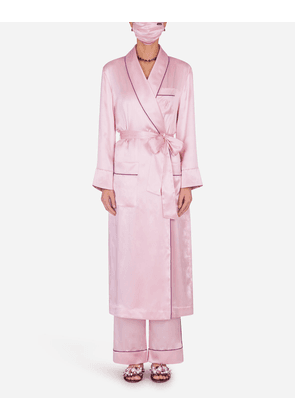 Dolce & Gabbana Loungewear Collection - SILK ROBE WITH MATCHING FACE MASK PINK