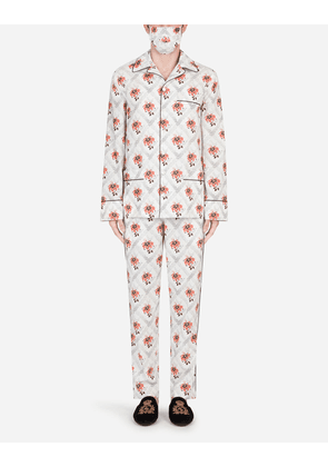 Dolce & Gabbana Loungewear Collection - LILY-PRINT PAJAMA SET WITH MATCHING FACE MASK FLORAL PRINT