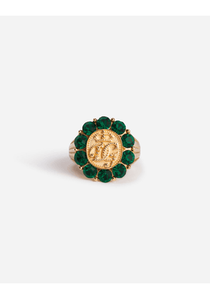 Dolce & Gabbana Bijoux - SILVER RING WITH CROWN AND RHINESTONES GREEN