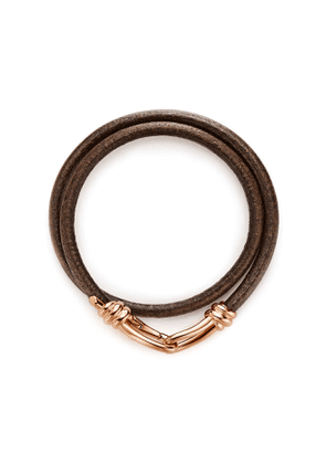 Paloma Picasso® Knot double wrap bracelet in 18k rose gold and leather, small
