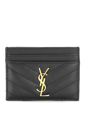 Monogram quilted leather card holder