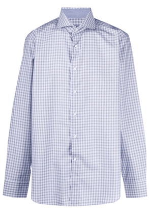 Canali checked-print cotton shirt - Metallic