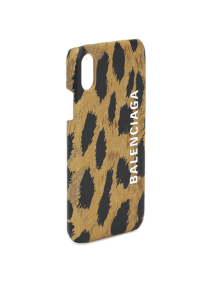 Leopard-print leather iPhone X case