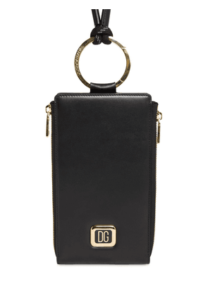 Dg Metal Label Leather Crossbody Bag